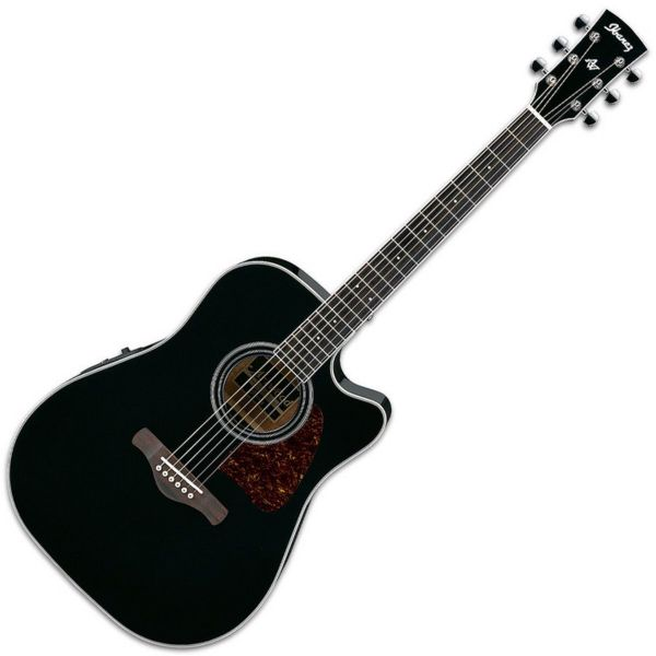 Ibanez AW70ECE-BK Artwood Electro Acoustic Guitar, Solid Top - Black